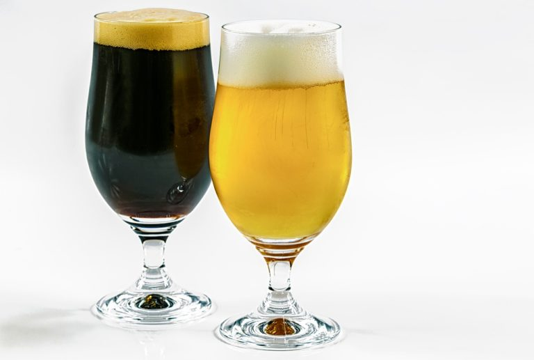two types of beer, dark, clear